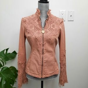 Vintage Moschino Jeans Denim Lace Victorian Jacket